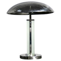 French Art Deco Table Lamp in Brass and Nickeled Chrome