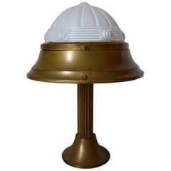 French Art Deco Table Lamp in Patinated Brass and Molded Glass, circa 1930
