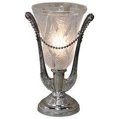 French Art Deco Table Lamp by Verrerie des Hanots