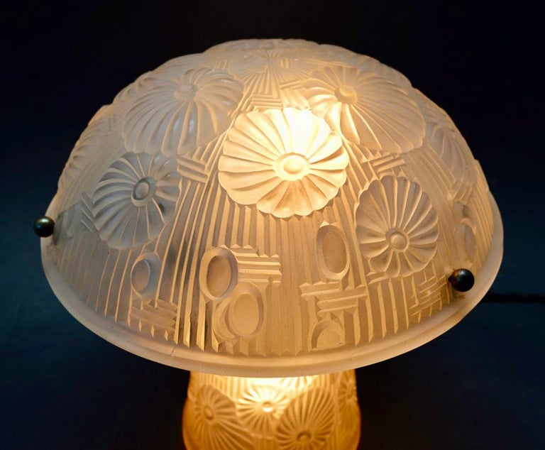 Molded French Art Deco Table Lamp Moulded Glass Mushroom Shape