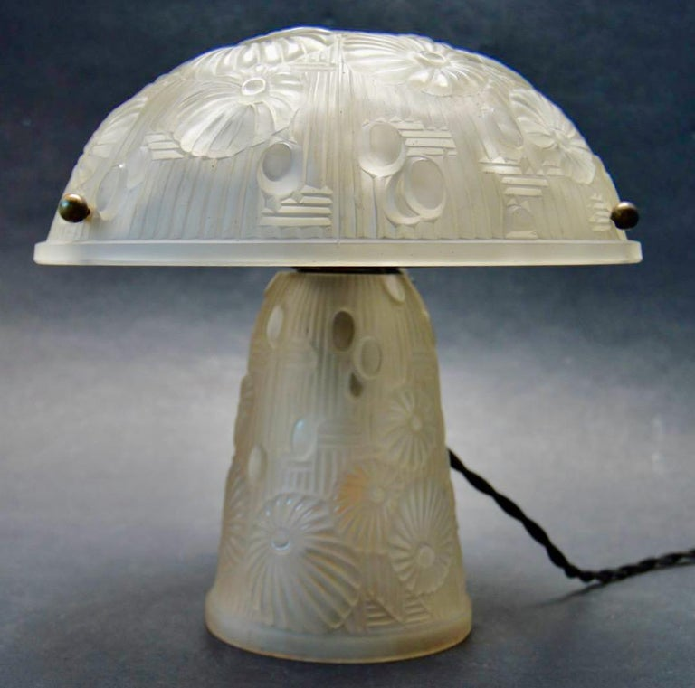 Iron French Art Deco Table Lamp Moulded Glass Mushroom Shape