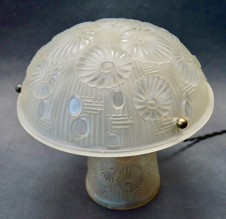 French Art Deco Table Lamp Moulded Glass Mushroom Shape 1