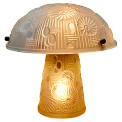 French Art Deco Table Lamp Moulded Glass Mushroom Shape