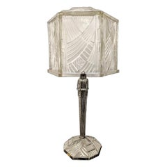 French Art Deco Table Lamp Signed Hettier & Vincent