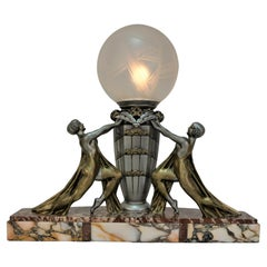 French Art Deco Table Lamp with Etched Glass Shade