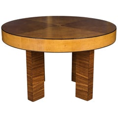French Art Deco Table with Exotic Veneer
