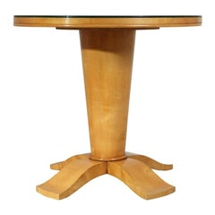 French Art Deco Table with Mirrored Top, c.1940