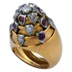 French Art Deco Temple Ring