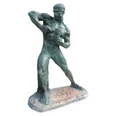 French Art Deco Terracotta Athlete Sculpture by Henri Bargas