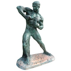 French Art Deco Terracotta Athlete Sculpture by Bargas