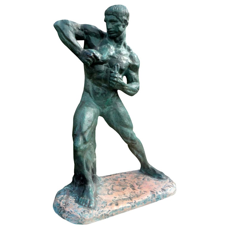 French Art Deco Terracotta Athlete Sculpture by Bargas For Sale