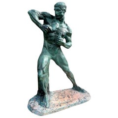 French Art Deco Terracotta Athlete Sculpture by Henri Bargas