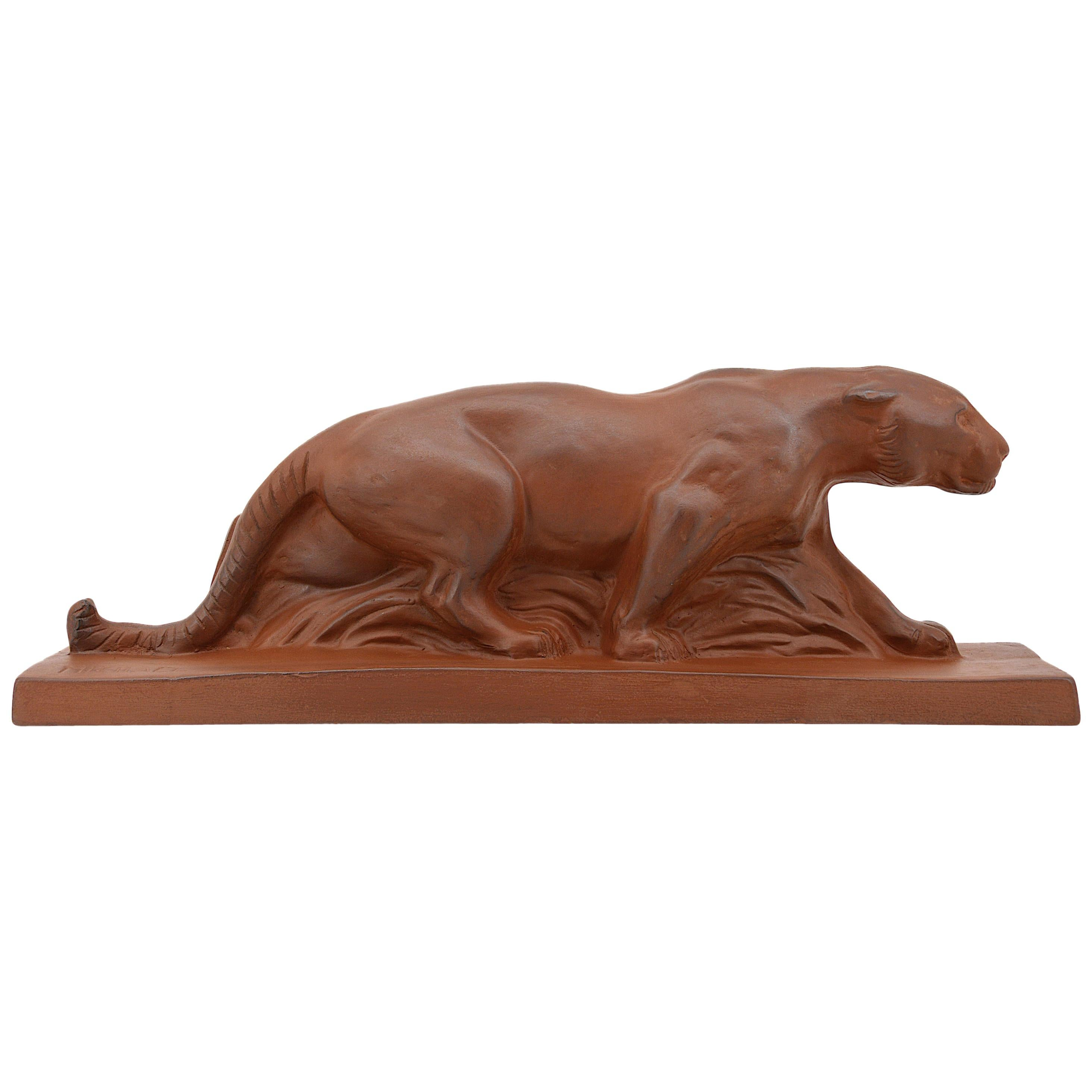 French Art Deco Terracotta Panther Sculpture by Michael, 1930s
