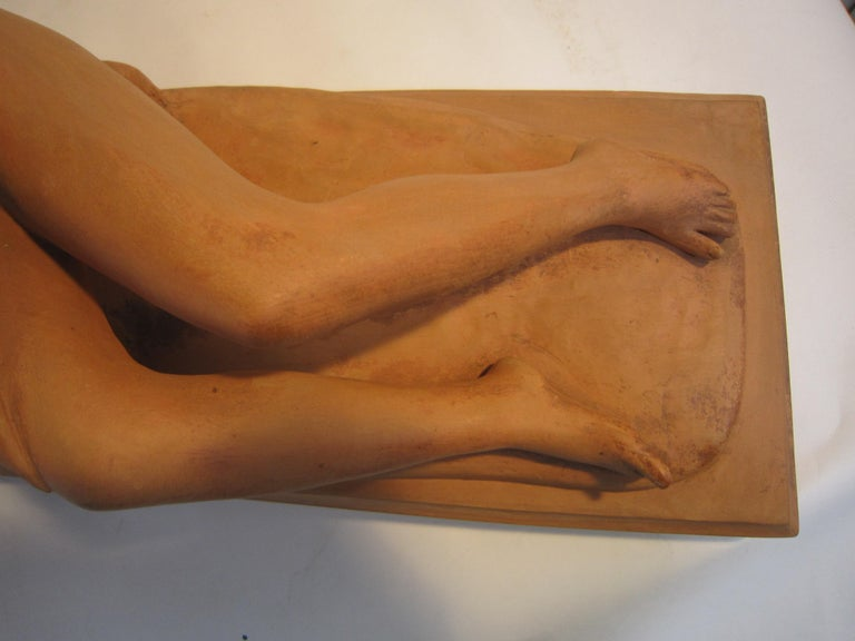 French Art Deco Terracotta Seated Nude with Fawn, Signed Ary Bitter For Sale 11