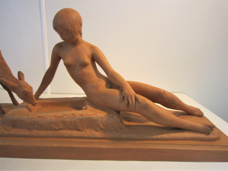 French Art Deco Terracotta Seated Nude with Fawn, Signed Ary Bitter In Good Condition For Sale In New York City, NY