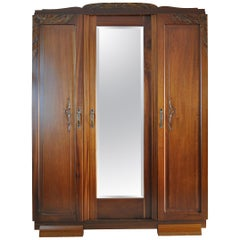 French Art Deco Three-Door Cabinet with Faceted Mirror