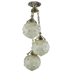 French Art Deco Three-Light Frosted Glass and Brass Cascade Pendant Light