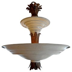 French Art Deco Tole and Bronze Chandelier, circa 1925