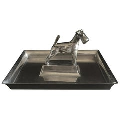 French Art Deco Tray with Dog Sculpted in the Middle Silver Plated Gallia
