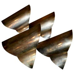 French Art Deco Triangular Form Steel Sconces, circa 1930 Set of Four