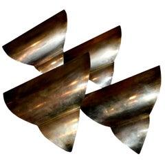 French Art Deco Triangular Form Steel Sconces, circa 1930 Set of Four