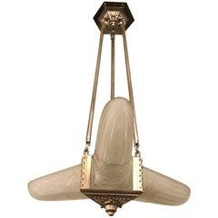 French Art Deco Triangular Starburst Chandelier