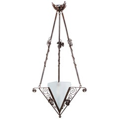 French Art Deco Triangular Wrought Iron and Frosted Glass Chandelier, 1930s
