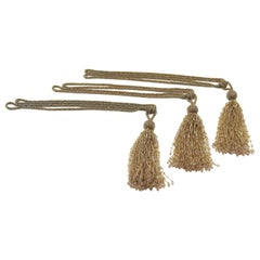 French Art Deco Trio of Crystal Beads Curtain Tassel Tie Backs Retainers