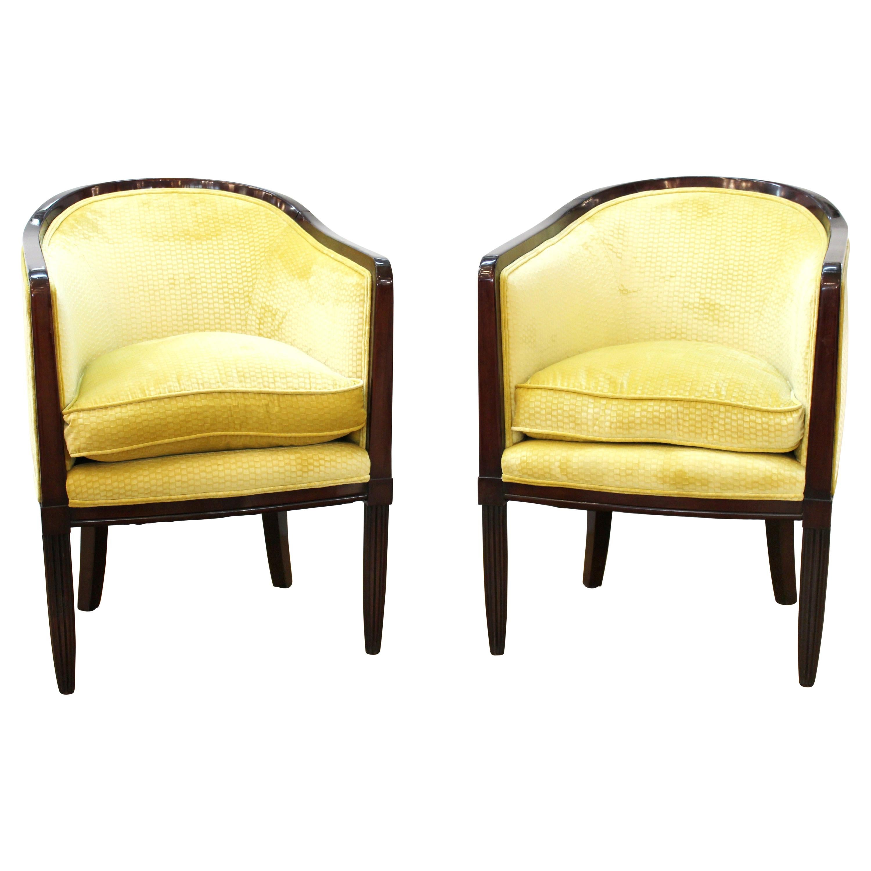 French Art Deco Tub Chairs in Velvet Upholstery