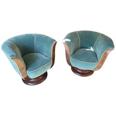 French Art Deco Tulip Swivel Chairs Mohair