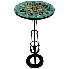 French Art Deco Turquoise Tile and Wrought Iron Pedestal Table