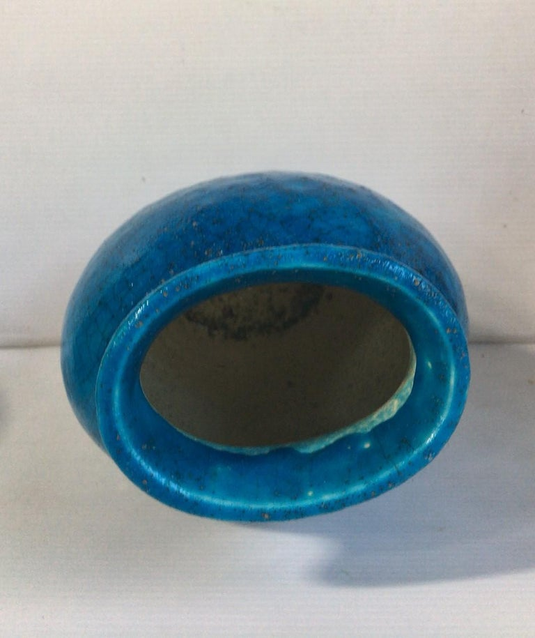 French Art Deco Turquoise Vase Lachenal  In Good Condition For Sale In The Hills, TX