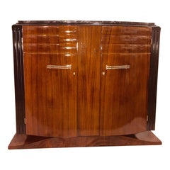 French Art Deco Two Doors Mahogany Sideboard Black and Gold Marble Top