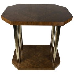 French Art Deco Two-Tiered Tubular Chrome and Walnut Side Table