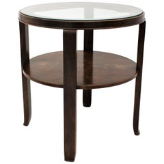 French Art Deco Two-Tier Walnut Round Side Table with Glass Top