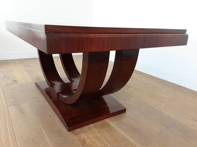 French Art Deco U Base Dining Table and Six Curve Back Dining Chairs in Rosewood For Sale 6
