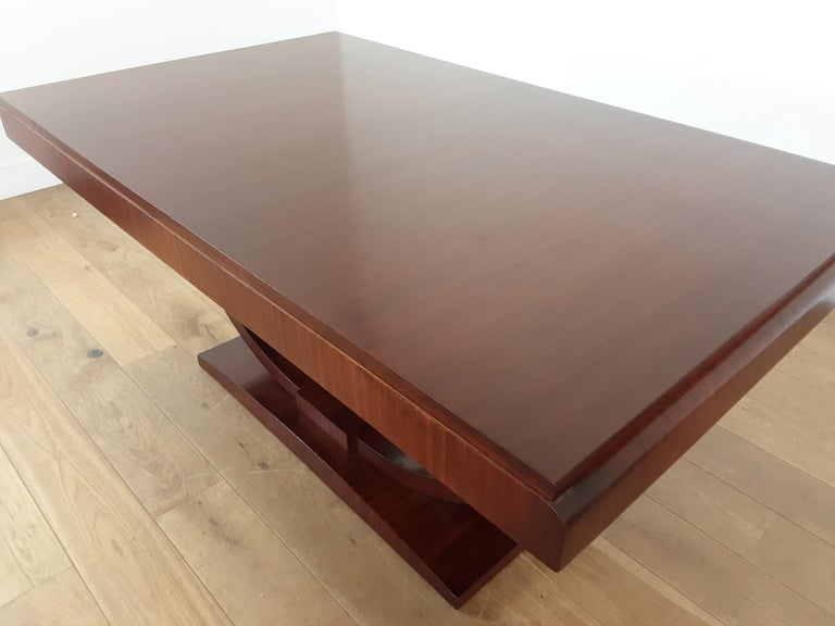 French Art Deco U Base Dining Table and Six Curve Back Dining Chairs in Rosewood For Sale 8
