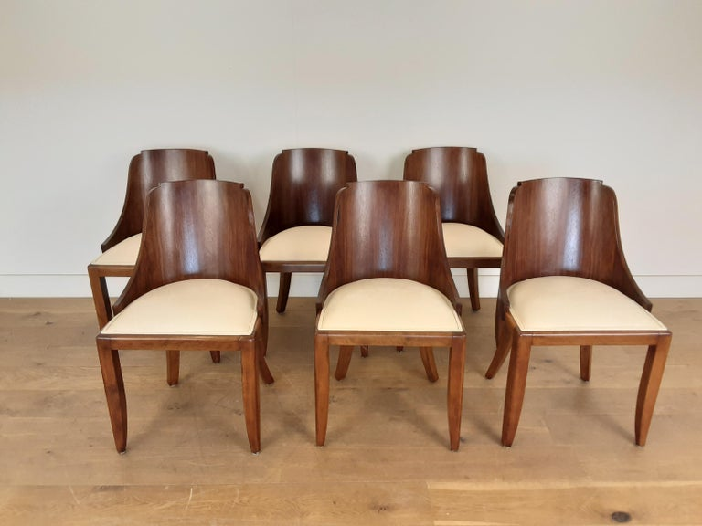 French Art Deco U Base Dining Table and Six Curve Back Dining Chairs in Rosewood In Good Condition For Sale In London, GB