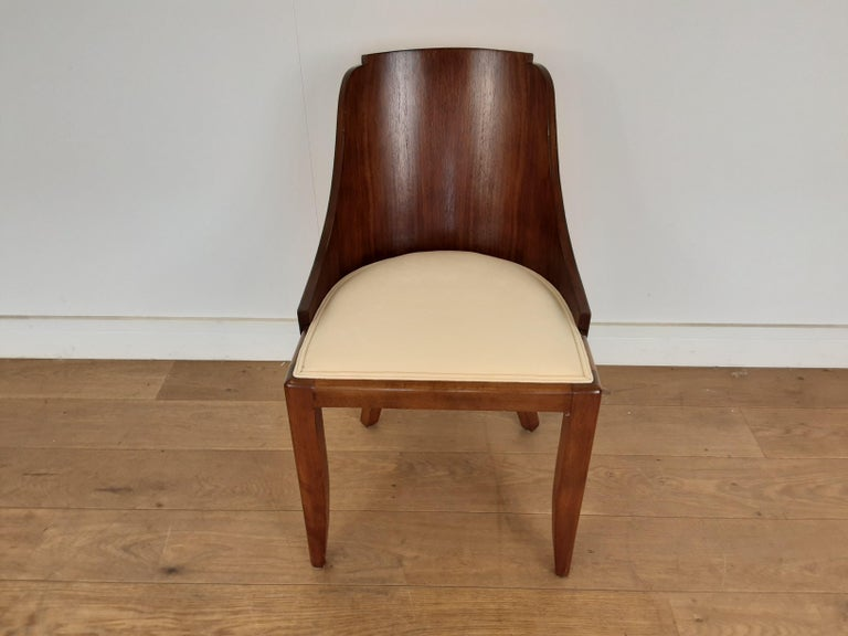 20th Century French Art Deco U Base Dining Table and Six Curve Back Dining Chairs in Rosewood For Sale
