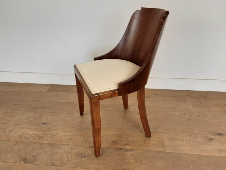 French Art Deco U Base Dining Table and Six Curve Back Dining Chairs in Rosewood For Sale 1