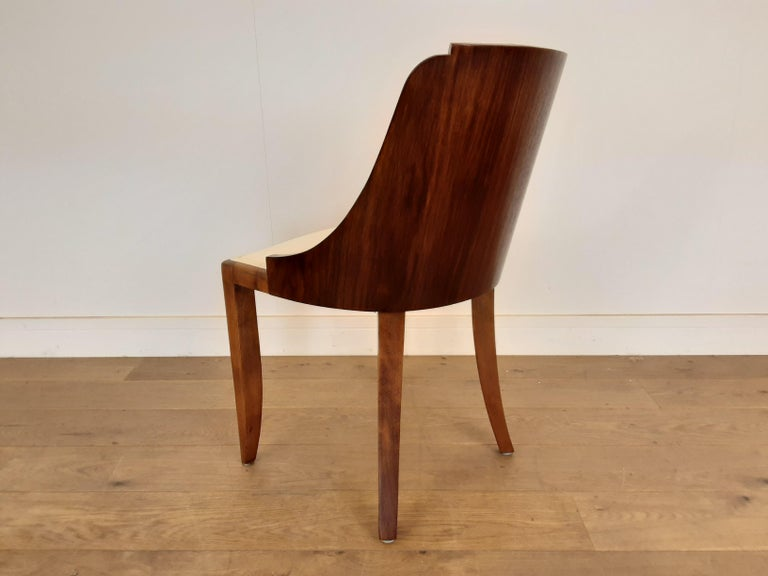 French Art Deco U Base Dining Table and Six Curve Back Dining Chairs in Rosewood For Sale 2