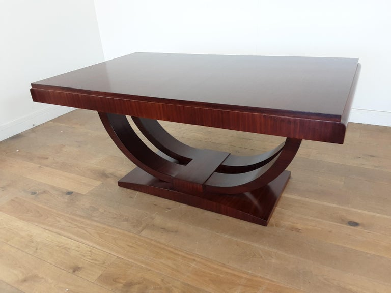 French Art Deco U Base Dining Table and Six Curve Back Dining Chairs in Rosewood For Sale 3