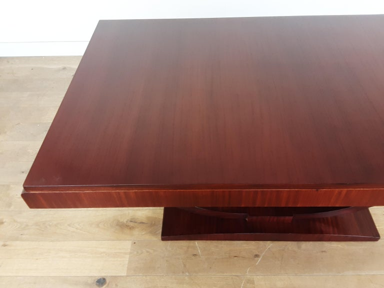 French Art Deco U Base Dining Table and Six Curve Back Dining Chairs in Rosewood For Sale 4