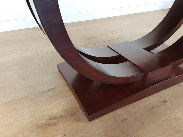 French Art Deco U Base Dining Table and Six Curve Back Dining Chairs in Rosewood For Sale 5