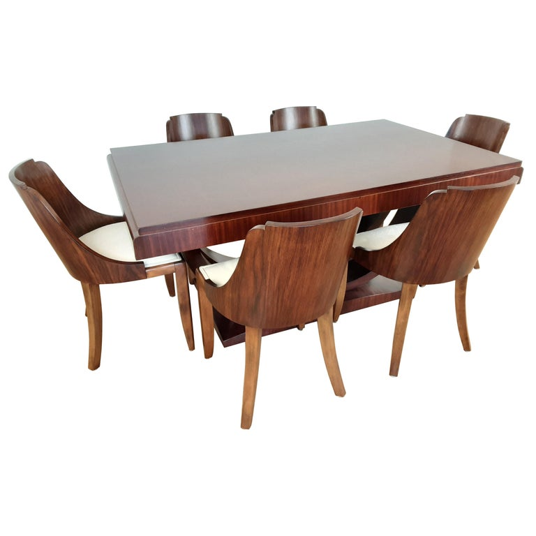French Art Deco U Base Dining Table and Six Curve Back Dining Chairs in Rosewood For Sale