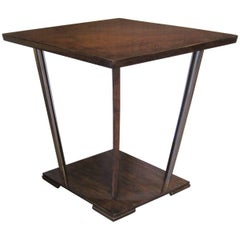 French Art Deco Unusual Diamond Shaped Walnut Side Table with Nickel Supports