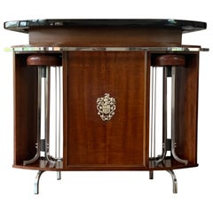 French Art Deco Upholstered and Ebonized Wood Dry Bar with Two Stools