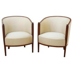 French Art Deco Upholstered Tub Chairs