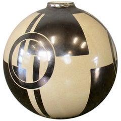French Art Deco Vase, Ceramic with Geometric Patterns
