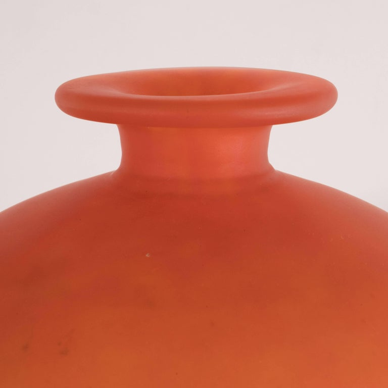Mid-20th Century French Art Deco Vase in Opaque Persimmon Hue Signed by Charles Schneider For Sale